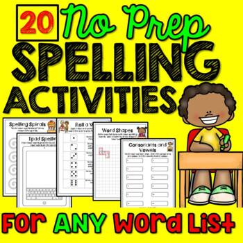 Spelling Activities  for Any Words (20 Activities)