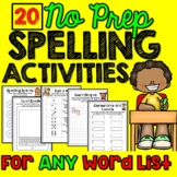 Spelling Activities  for Any List (20 Activities) #2sale