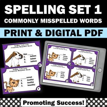 Spelling Activities Set 1 Commonly Misspelled Words, Vocabulary Review Games