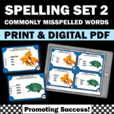 Spelling Task Cards, Set 2 Commonly Misspelled Words 4th Grade 3rd 2nd