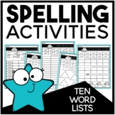 Spelling Activities for Ten Word Lists | EDITABLE