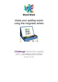 Spelling Activities for spelling words