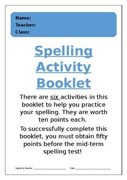 Spelling Activity Booklet