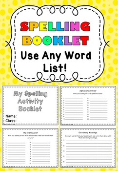 Spelling Activity Booklet - Use Any Word List