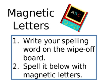 Spelling Activity Center Signs
