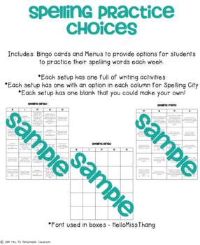Spelling Activity Choice Boards