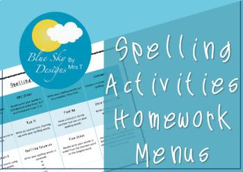 Spelling Activity Menu