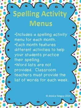 Monthly Spelling Activity Menus