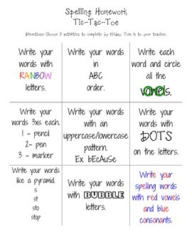 Spelling Activity Menus