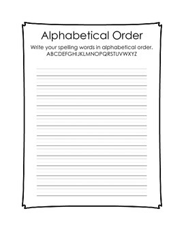 Spelling Activity Packet