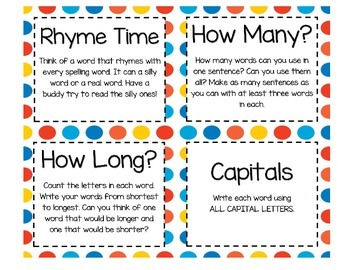 Spelling Activity Task Cards