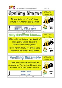 Spelling Activity Task Cards- 42pc