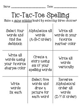Spelling Activity Tic Tac Toe