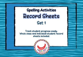 Spelling Activties Record Sheets Set 1