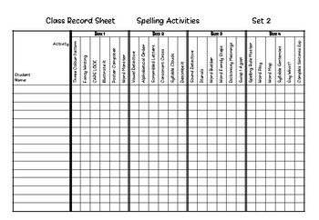 Spelling Activities Record Sheets Set 2