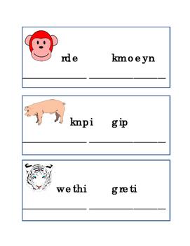 Spelling Animal Word Scramble Reading Journal Writing Journal Supplement ELA 4p