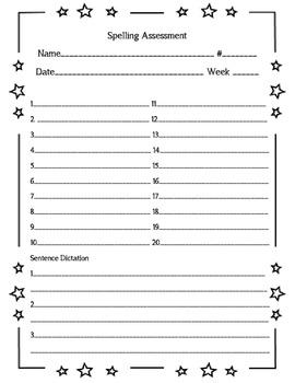 Spelling Assessment Form