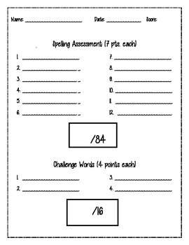 Spelling Assessment page