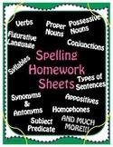 Spelling Homework Assignments