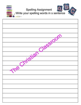 Spelling Assignment Activity Pack of Grids