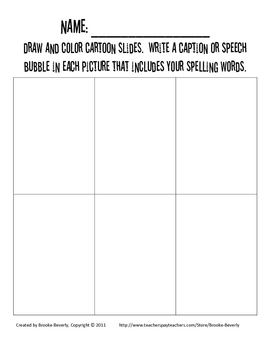 Spelling Assignment for Any List- Cartoon Slides