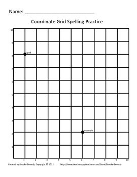 Spelling Assignment for Any List- Coordinate Grid Spell