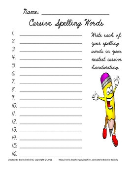 Spelling Assignment for Any List- Cursive