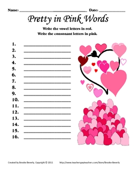 Spelling Assignment for Any List- Pretty in Pink