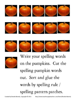 Spelling Assignment for Any List- Pumpkin Word Sort