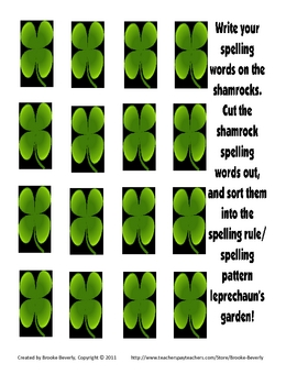 Spelling Assignment for Any List- Shamrock Word Sort