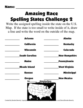Spelling Assignment for Any List- State Amazing Race Spelling