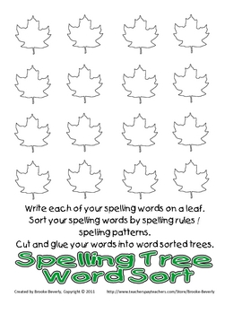 Spelling Assignment for Any List- Tree Word Sort