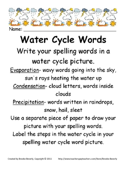 Spelling Assignment for Any List- Water Cycle Picture