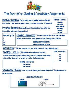 Spelling Assignments - How to