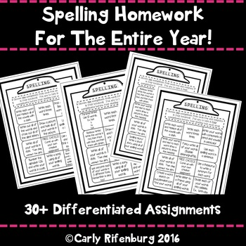 Spelling Homework for the Whole Year!