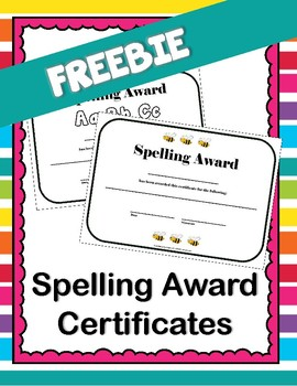 Spelling Award Certificates