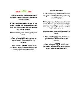 Spelling BAM! Game - Abeka Grade 1/2 Lists  1-9