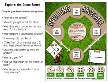 Spelling Baseball - A Spelling Practice Board Game