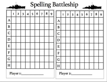 Spelling Battleship Game board