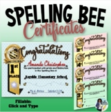 Spelling Bee Awards ~ Fillable