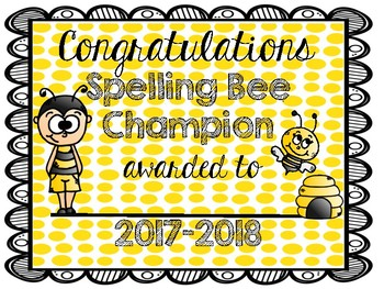 Spelling Bee Certificate (2018-2019)