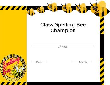 Spelling Bee Certificate (Editable)