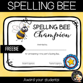 Spelling Bee Competition Certificate Freebie