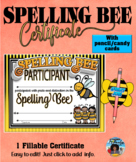 Spelling Bee Certificate with Candy/Pencil Cards