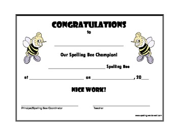 Collection of solutions for spelling bee award certificate.