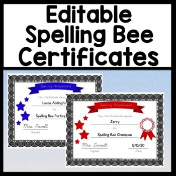 Spelling Bee Certificates-Editable! {Spelling Bee Participation Certificates}