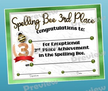 Spelling Bee Certificates Pack - Fillable by DP Sharpe | TpT