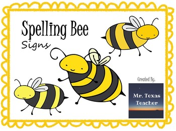 Spelling Bee Contestant Signs #1-30 (Editable or Ready To Go)