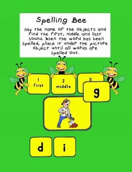 Spelling Bee Game with 3 letter words...first, middle and last letter sounds