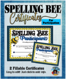Spelling Bee Participant Certificates